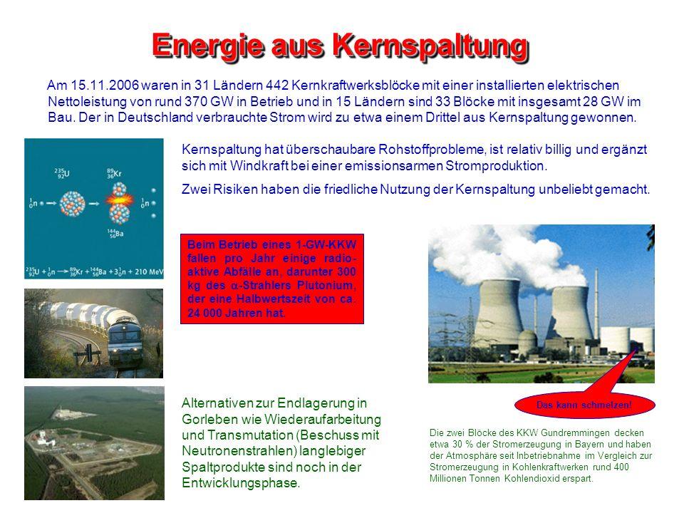 Energie aus Kernspaltung Am 15.11.2006 waren in 31 Ländern 442 Kernkraftwerksblöcke mit einer installierten elektrischen Nettoleistung von rund 370 GW