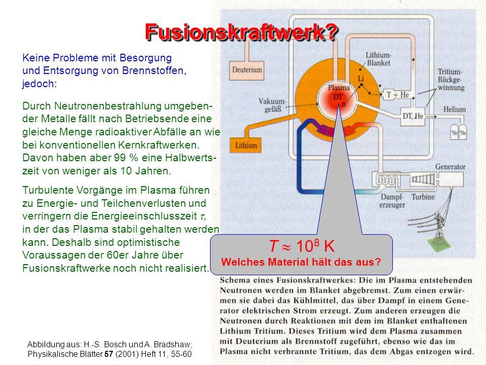 Durch Neutronenbestrahlung umgeben- der Metalle fällt nach Betriebsende eine gleiche Menge radioaktiver Abfälle an wie bei konventionellen Kernkraftwe
