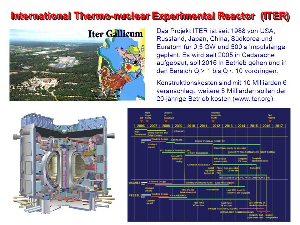 International Thermo-nuclear Experimental Reactor (ITER) Das Projekt ITER ist seit 1988 von USA, Russland, Japan, China, Südkorea und Euratom für 0,5