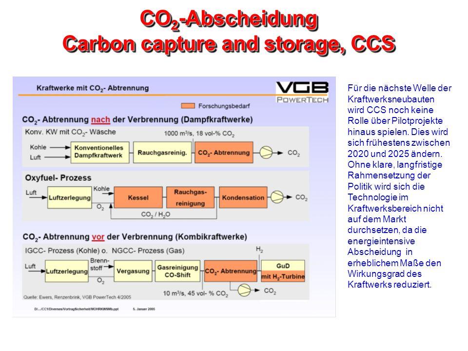 CO 2 -Abscheidung Carbon capture and storage, CCS Für die nächste Welle der Kraftwerksneubauten wird CCS noch keine Rolle über Pilotprojekte hinaus sp