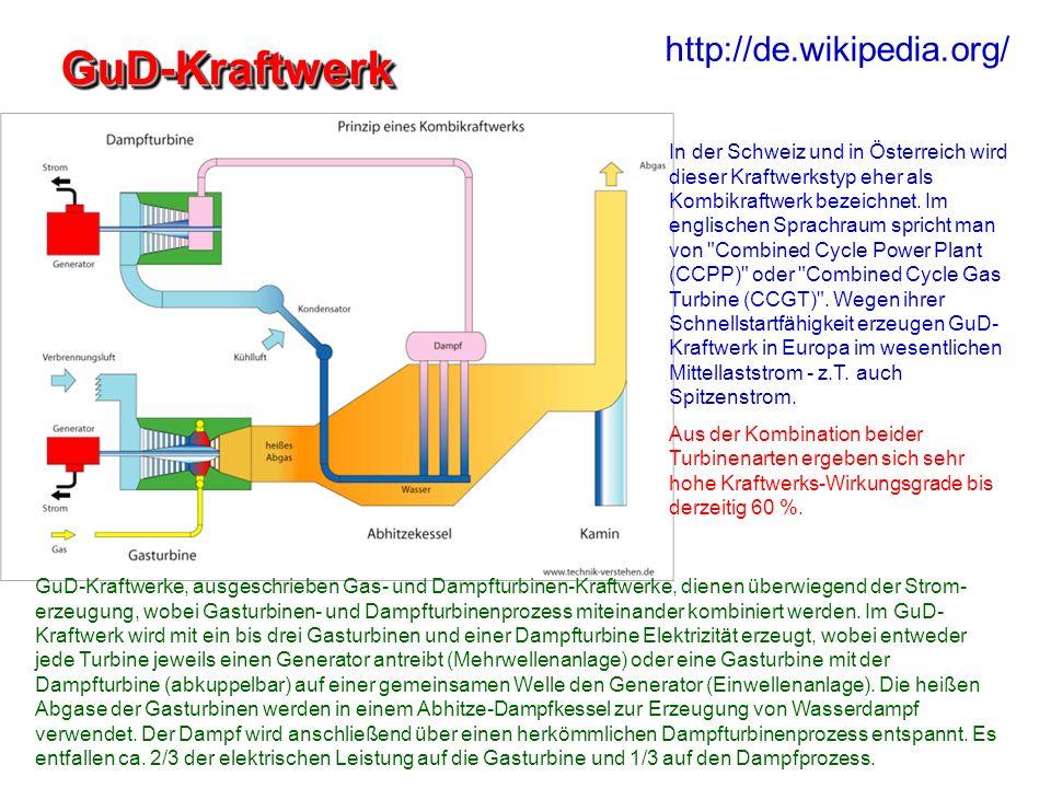 GuD-KraftwerkGuD-Kraftwerk http://de.wikipedia.org/ GuD-Kraftwerke, ausgeschrieben Gas- und Dampfturbinen-Kraftwerke, dienen überwiegend der Strom- er