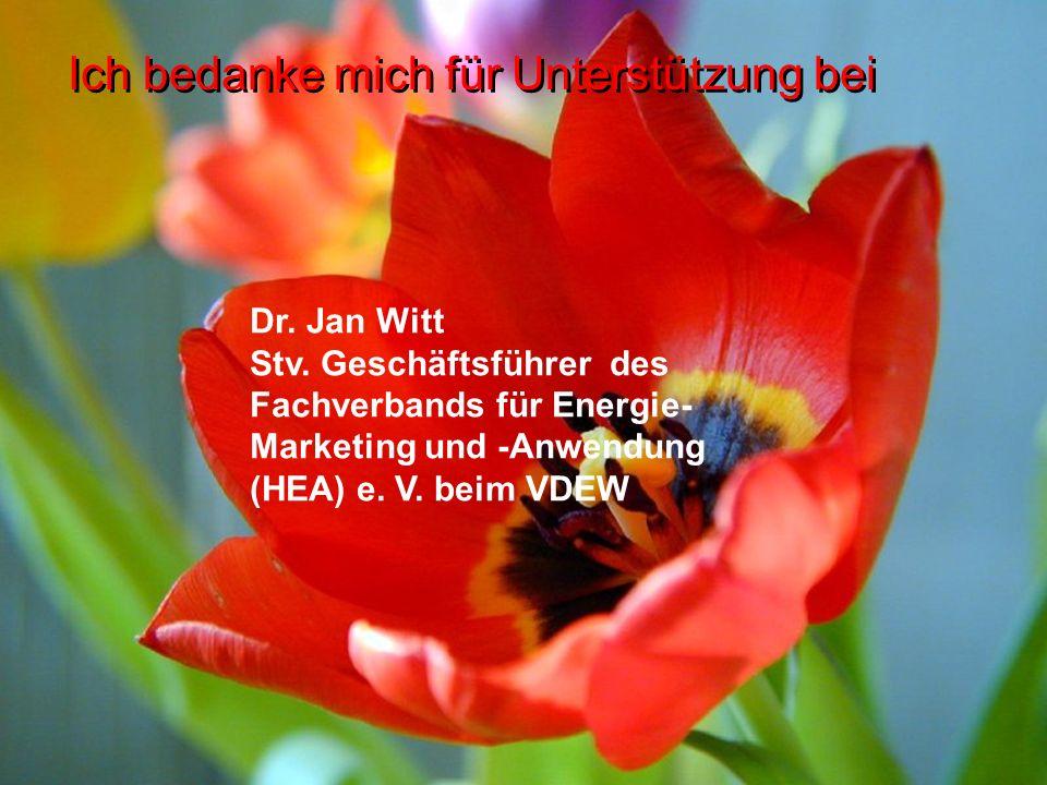 Ich bedanke mich für Unterstützung bei Dr. Jan Witt Stv. Geschäftsführer des Fachverbands für Energie- Marketing und -Anwendung (HEA) e. V. beim VDEW
