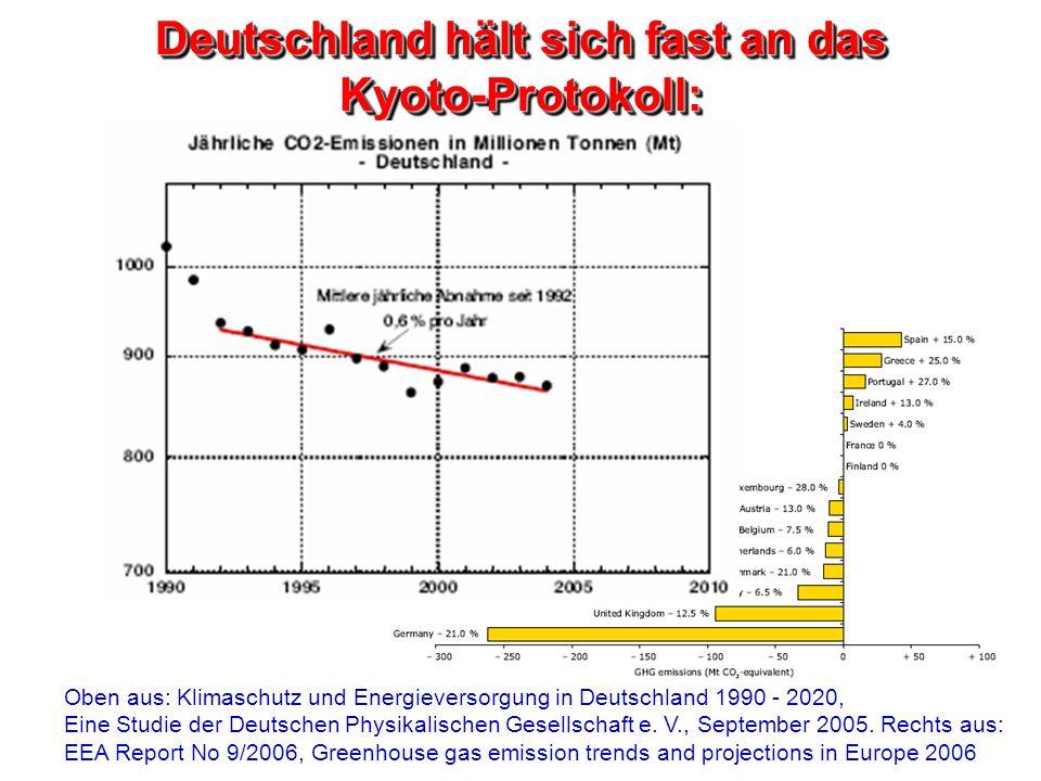 Deutschland hält sich fast an das Kyoto-Protokoll: Oben aus: Klimaschutz und Energieversorgung in Deutschland 1990 - 2020, Eine Studie der Deutschen P