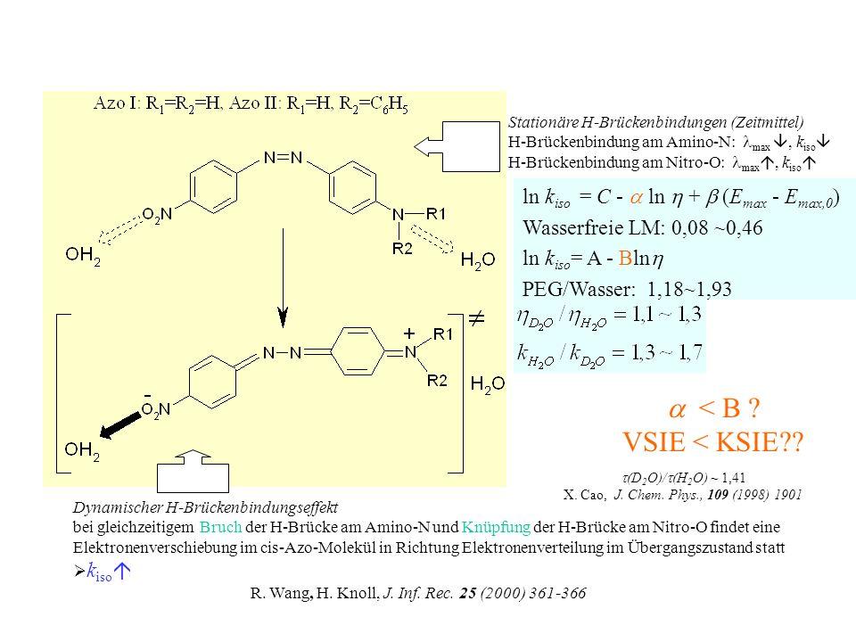 Abhängigkeit der Isomerisierungskonstanten k iso von der Bulk- Viskosität in PEG/Wasser Mischungen