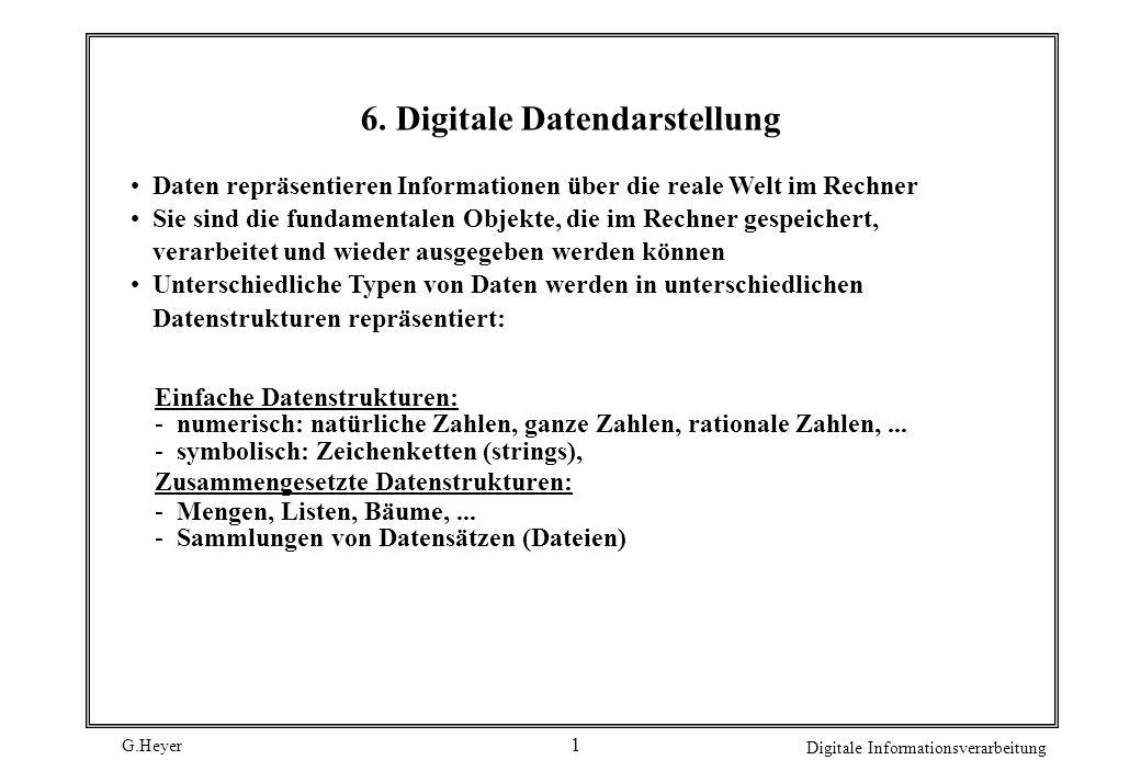 G.Heyer Digitale Informationsverarbeitung 1 6. Digitale Datendarstellung Daten repräsentieren Informationen über die reale Welt im Rechner Sie sind di