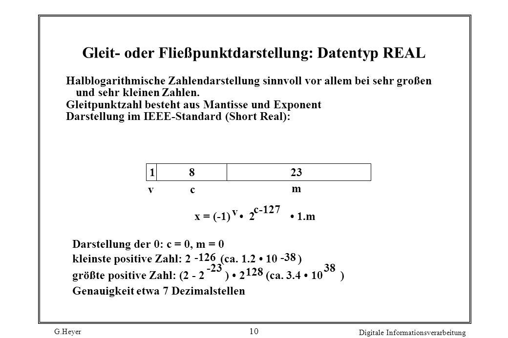 G.Heyer Digitale Informationsverarbeitung 10 Gleit- oder Fließpunktdarstellung: Datentyp REAL Halblogarithmische Zahlendarstellung sinnvoll vor allem