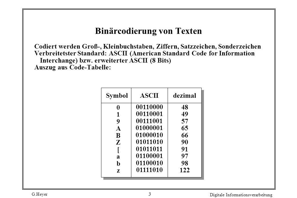 G.Heyer Digitale Informationsverarbeitung 3 Binärcodierung von Texten Codiert werden Groß-, Kleinbuchstaben, Ziffern, Satzzeichen, Sonderzeichen Verbr