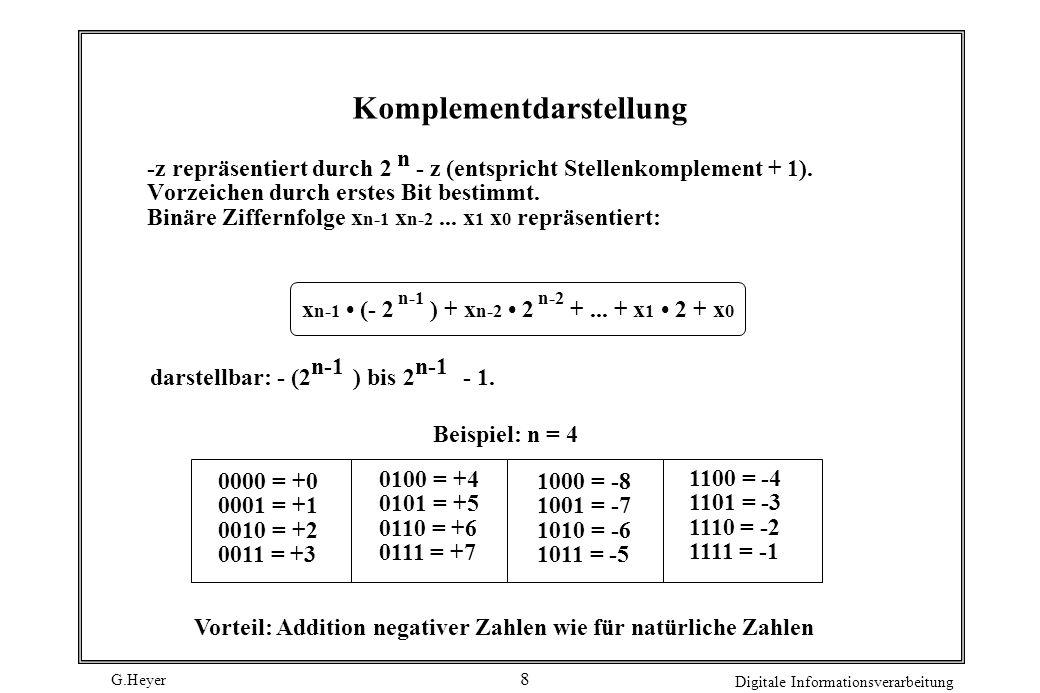 G.Heyer Digitale Informationsverarbeitung 8 Komplementdarstellung -z repräsentiert durch 2 - z (entspricht Stellenkomplement + 1). Vorzeichen durch er