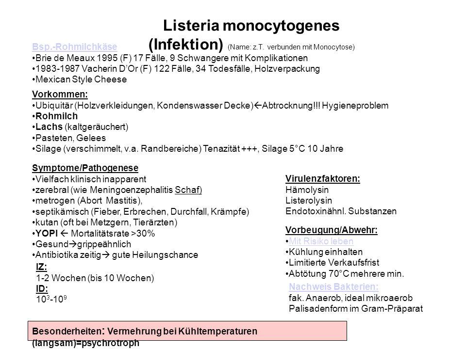 Nachweis Bakterien: fak. Anaerob, ideal mikroaerob Palisadenform im Gram-Präparat Listeria monocytogenes (Infektion) (Name: z.T. verbunden mit Monocyt