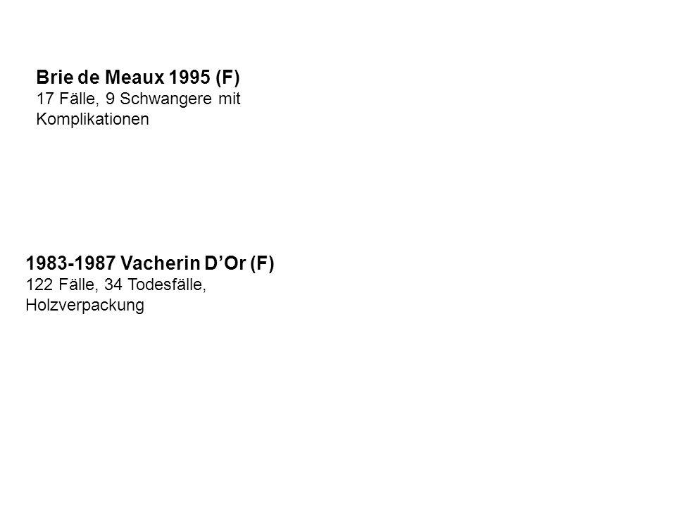 Brie de Meaux 1995 (F) 17 Fälle, 9 Schwangere mit Komplikationen 1983-1987 Vacherin DOr (F) 122 Fälle, 34 Todesfälle, Holzverpackung