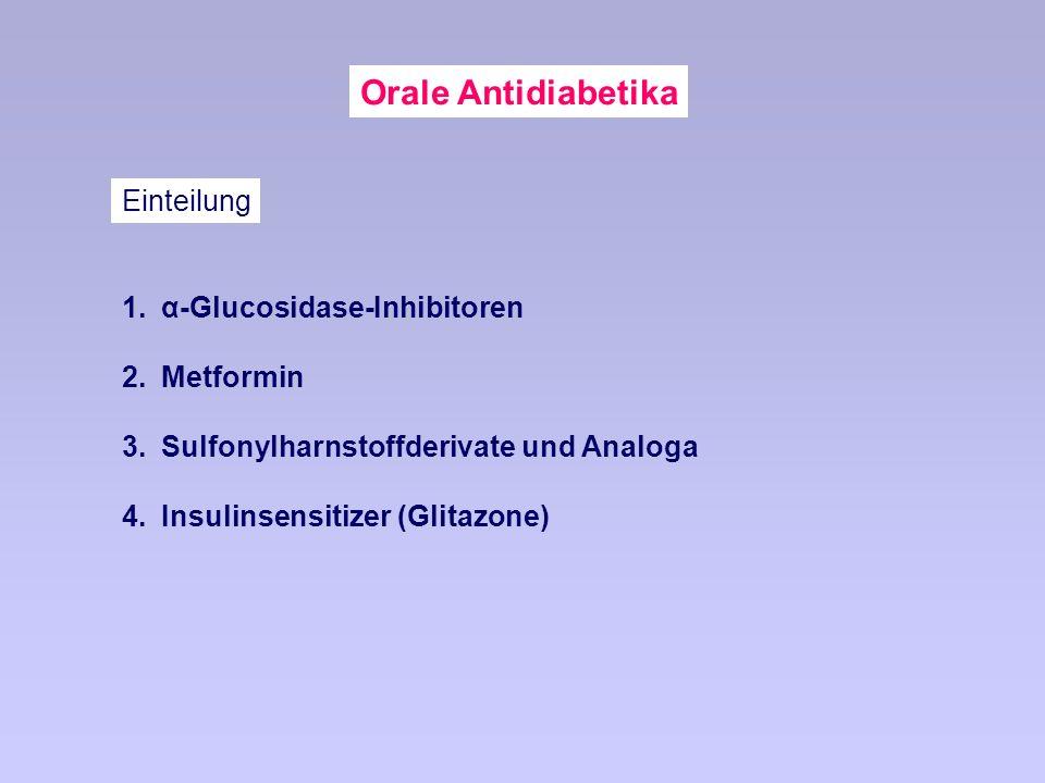 Orale Antidiabetika 1.α-Glucosidase-Inhibitoren 2.Metformin 3.Sulfonylharnstoffderivate und Analoga 4.Insulinsensitizer (Glitazone) Einteilung