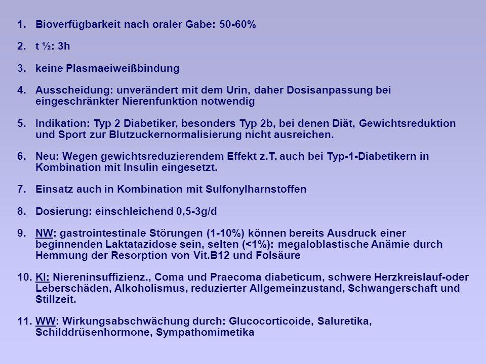1.Bioverfügbarkeit nach oraler Gabe: 50-60% 2.t ½: 3h 3.keine Plasmaeiweißbindung 4.Ausscheidung: unverändert mit dem Urin, daher Dosisanpassung bei eingeschränkter Nierenfunktion notwendig 5.Indikation: Typ 2 Diabetiker, besonders Typ 2b, bei denen Diät, Gewichtsreduktion und Sport zur Blutzuckernormalisierung nicht ausreichen.