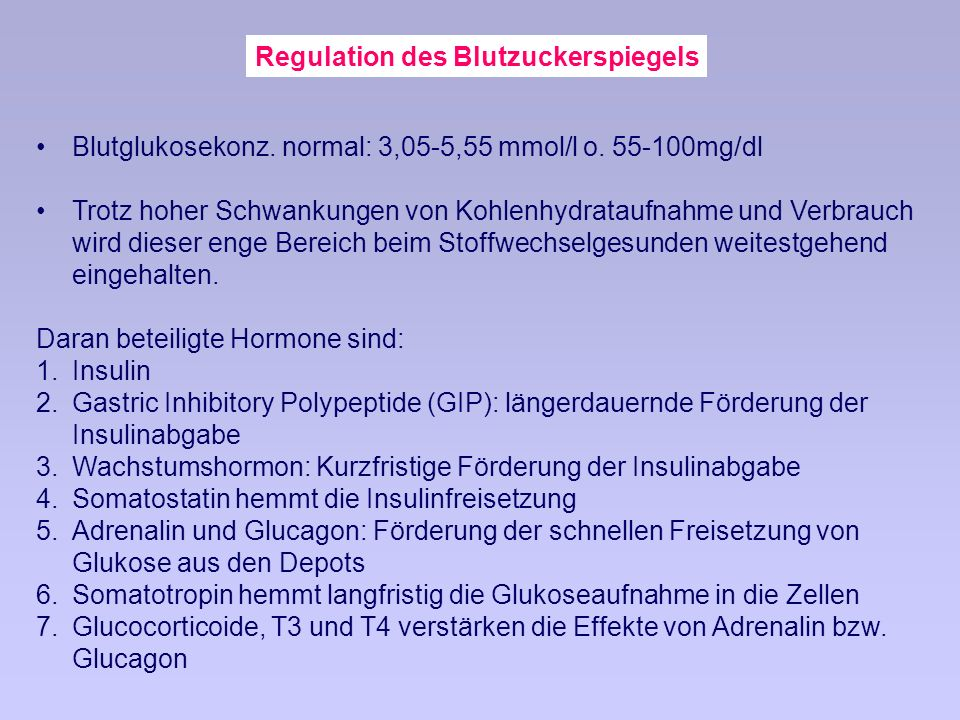 Regulation des Blutzuckerspiegels Blutglukosekonz.