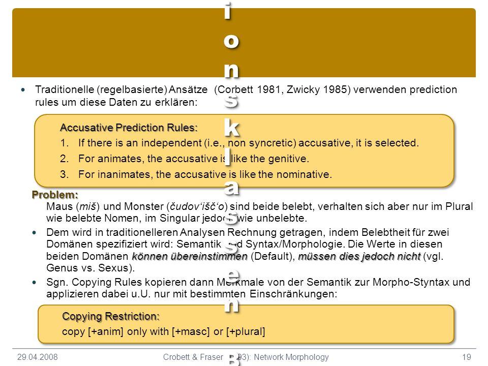 Traditionelle (regelbasierte) Ansätze (Corbett 1981, Zwicky 1985) verwenden prediction rules um diese Daten zu erklären: 29.04.200819Crobett & Fraser (1993): Network Morphology Problem: Problem: Maus (miš) und Monster (čudoviščo) sind beide belebt, verhalten sich aber nur im Plural wie belebte Nomen, im Singular jedoch wie unbelebte.