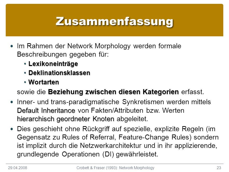ZusammenfassungZusammenfassung Im Rahmen der Network Morphology werden formale Beschreibungen gegeben für: LexikoneinträgeLexikoneinträge Deklinations