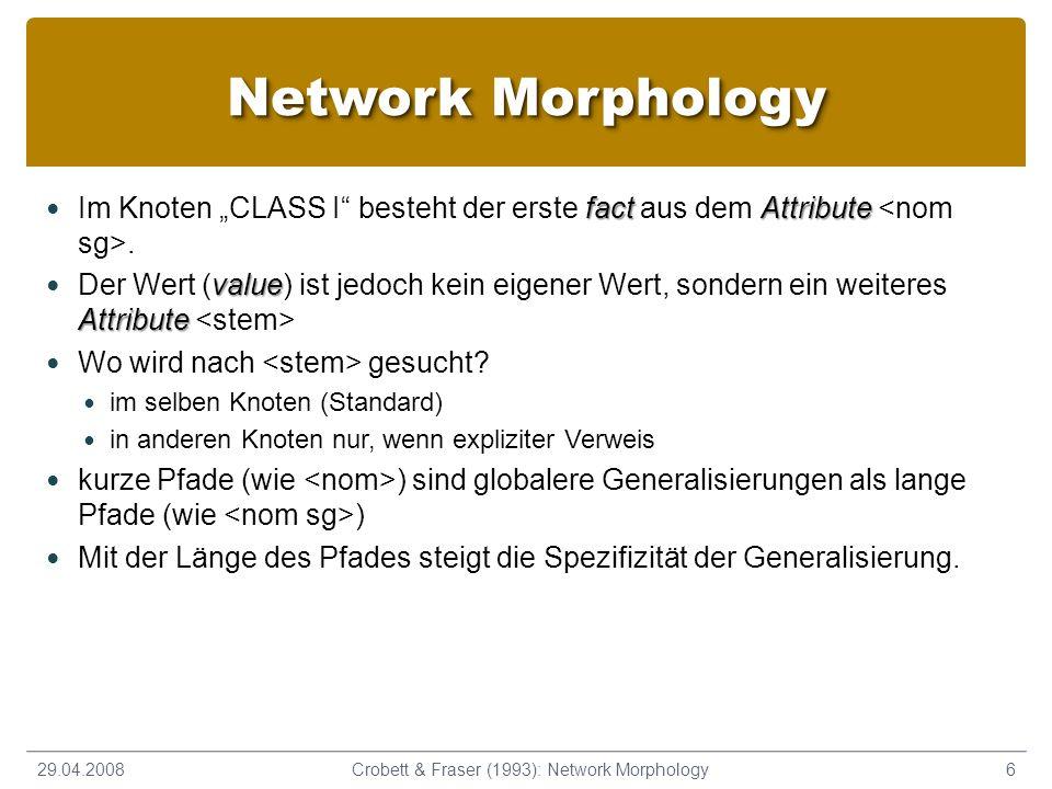 Network Morphology fact Attribute Im Knoten CLASS I besteht der erste fact aus dem Attribute. value Attribute Der Wert (value) ist jedoch kein eigener