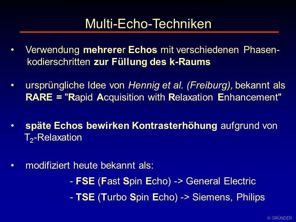 W.GRÜNDER Multi-Echo-Techniken Verwendung mehrerer Echos mit verschiedenen Phasen- kodierschritten zur Füllung des k-Raums ursprüngliche Idee von Henn