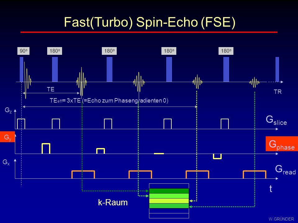 W.GRÜNDER Fast(Turbo) Spin-Echo (FSE) TR TE TE eff = 3xTE (=Echo zum Phasengradienten 0) G slice GzGz G phase GyGy G read GxGx t 90 o 180 o k-Raum