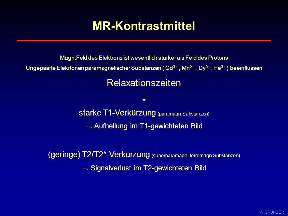 W.GRÜNDER MR-Kontrastmittel Magn.Feld des Elektrons ist wesentlich stärker als Feld des Protons Ungepaarte Elekrtonen paramagnetischer Substanzen ( Gd