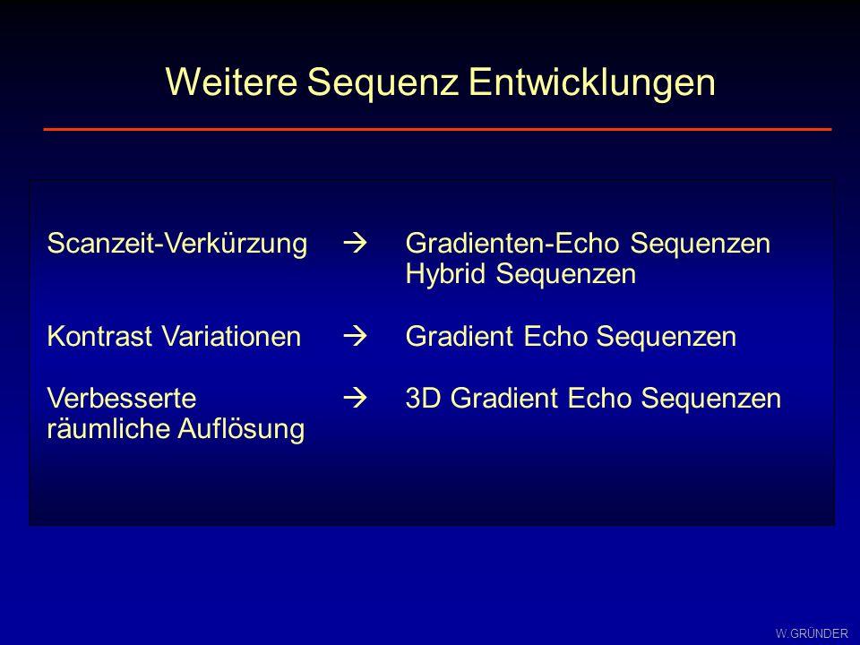 W.GRÜNDER o kürzere Messdauer (TR< T 1 ) o besseres Signal–zu–Rausch-Verhältnis pro Zeiteinheit o effektive 3D-Bildgebung möglich o kleinere SAR-Werte ( <90°: geringere HF-Belastung ) o starker T 1 - und/oder T 2 *-gewichteter Kontrast o Einfluß von magnetischer Suszeptibilität o und Inhomogenitäten des B 0 -Felds Gradienten-Echo / Spin-Echo Nachteile Vorteile