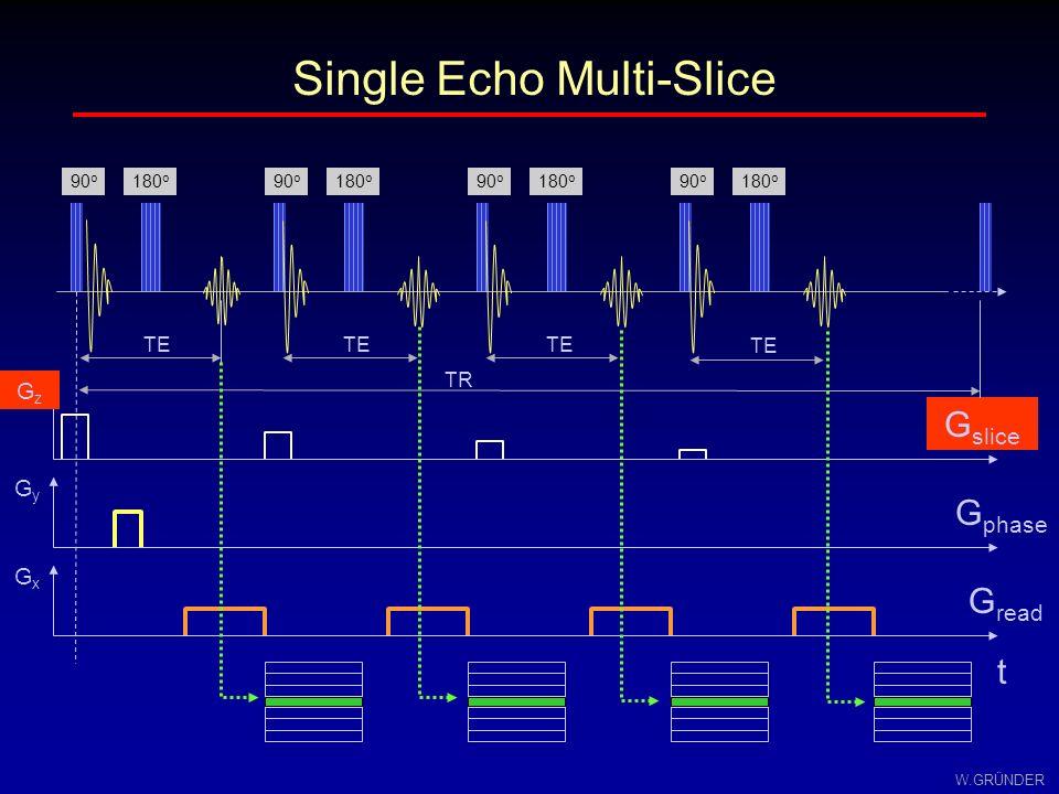 W.GRÜNDER Single Echo Multi-Slice TE G slice GzGz G phase GyGy G read GxGx t 90 o 180 o TR 180 o 90 o 180 o 90 o 180 o 90 o TE