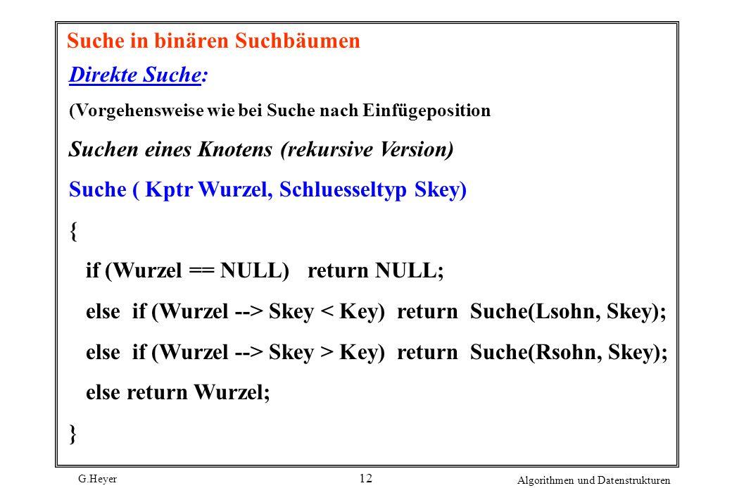 G.Heyer Algorithmen und Datenstrukturen 12 Suche in binären Suchbäumen Direkte Suche: (Vorgehensweise wie bei Suche nach Einfügeposition Suchen eines