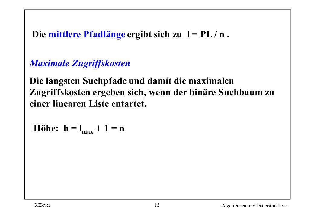 G.Heyer Algorithmen und Datenstrukturen 15 Die mittlere Pfadlänge ergibt sich zu l = PL / n. Maximale Zugriffskosten Die längsten Suchpfade und damit