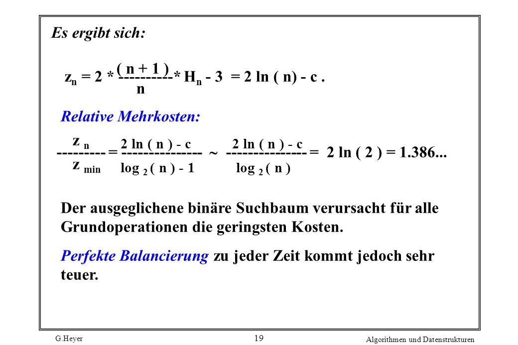 G.Heyer Algorithmen und Datenstrukturen 19 Es ergibt sich: z n = 2 * ----------* H n - 3 = 2 ln ( n) - c. ( n + 1 ) n --------- = --------------- ----