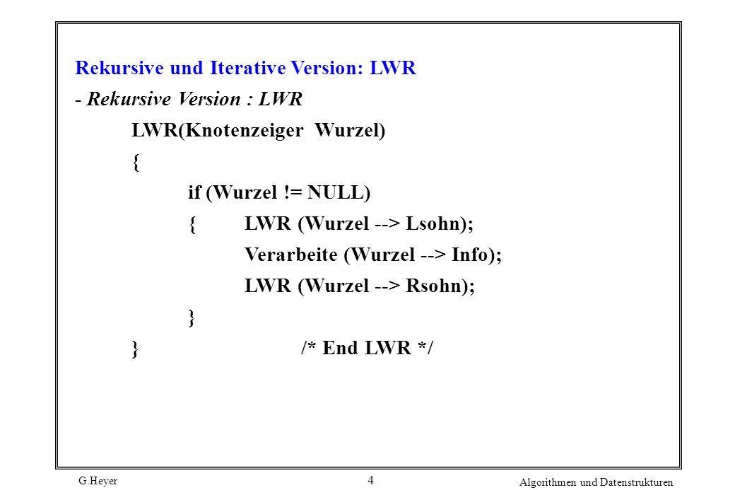 G.Heyer Algorithmen und Datenstrukturen 4 Rekursive und Iterative Version: LWR - Rekursive Version : LWR LWR(Knotenzeiger Wurzel) { if (Wurzel != NULL