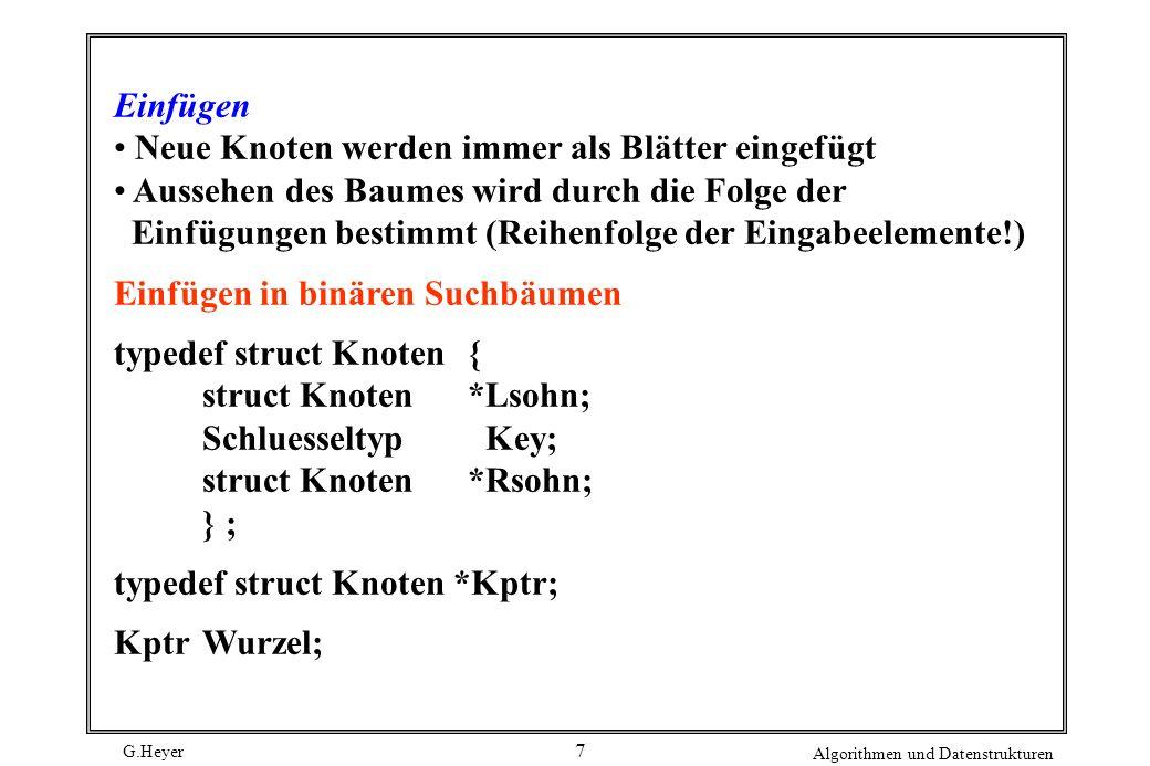 G.Heyer Algorithmen und Datenstrukturen 8 void Einfuegen (Knotenzeiger p, int k) { if ( p == NULL )/* Leerer Baum */ { p = (struct Knoten *) malloc (sizeof *p); p --> leftson = NULL; p --> rightson = NULL; p --> key = k; } else if (k key)Einfuegen( p --> leftson, k ) ; else if (k > p --> key ) Einfuegen ( p --> rightson, k ) ; else printf (Schluessel bereits vorhanden \n); }