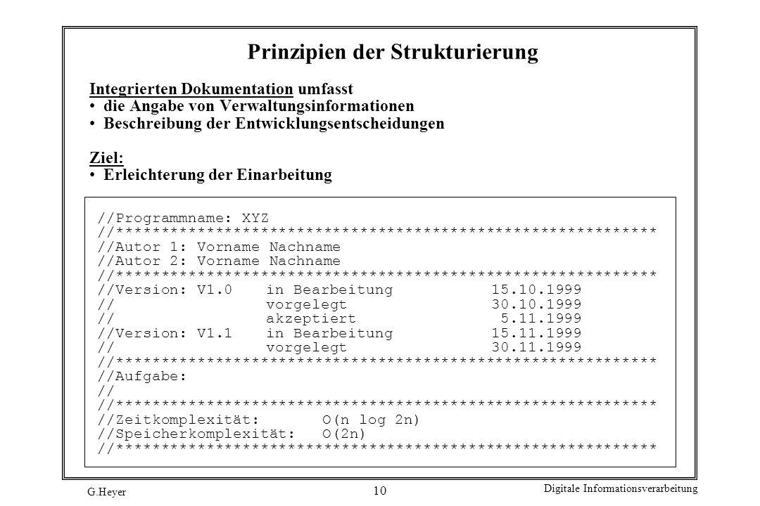 G.Heyer Digitale Informationsverarbeitung 10 Prinzipien der Strukturierung Integrierten Dokumentation umfasst die Angabe von Verwaltungsinformationen