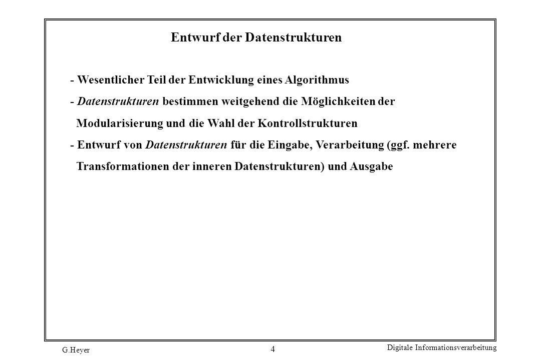 G.Heyer Digitale Informationsverarbeitung 5 Weitere Entwurfskonzepte Modularität: die Komplexität großer Softwaresysteme beherrschbar nur durch Komposition aus kleineren Einheiten (Modulen) –Module können unabhängig voneinander entwickelt und validiert werden –(Dienst-) Module stellen (Kunden-) Modulen Dienstleistungen zur Verfügung –Interaktion zwischen Modulen nur in streng kontrollierter Form Information hiding: Wie die Leistungen eines Moduls erzielt werden, bleibt für andere Module verborgen (man spricht auch von Kapselung).