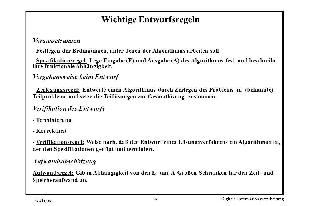 G.Heyer Digitale Informationsverarbeitung 17 Beispiele für gute Namen Zweck der VariablenGute NamenSchlechte Namen Laufende LaufendeKontrollnr,Kontrollen, KontrollnummerLfdKontrollNr,X, X1, X2 nKontrollen GeschwindigkeitGeschwindigkeit,Gesch, v eines ZugesZugGeschwindigkeit,X, X1, X2, GeschwindigkeitInKmhZug GegenwärtigesHeute, GegenwDatumGD, Datum, X, X1, X2 Datum Zeilen je SeiteZeilenJeSeiteZjS, Zeilen, Z X, X1, X2