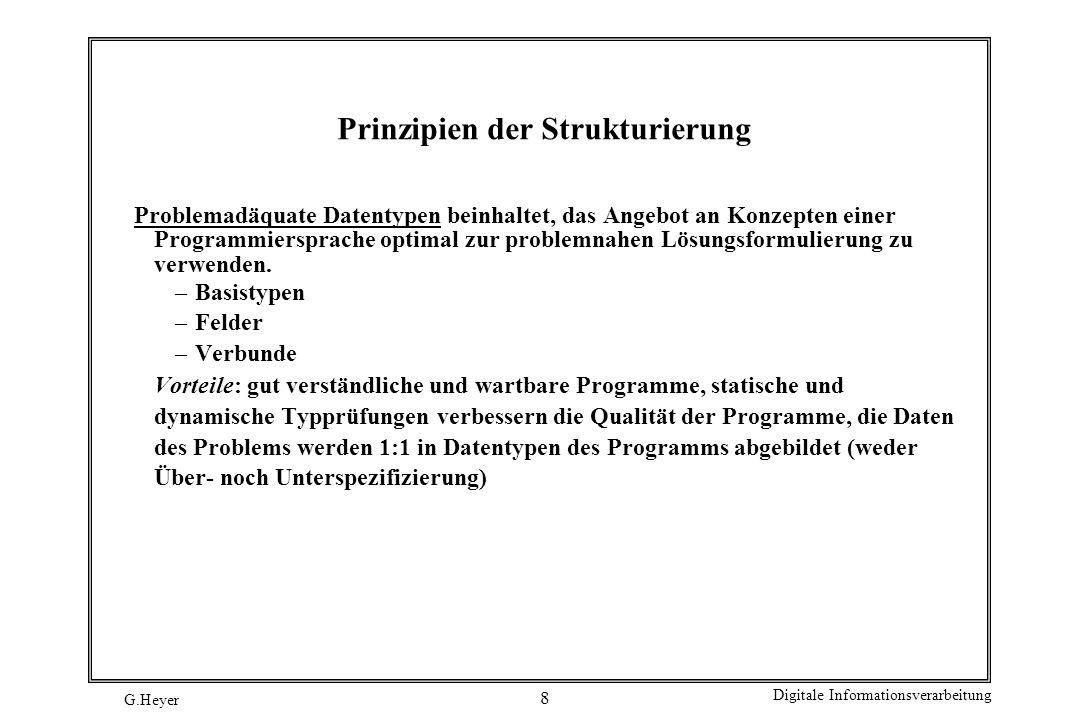 G.Heyer Digitale Informationsverarbeitung 9 Prinzipien der Strukturierung Das Prinzip der Verfeinerung dient dazu, ein Programm durch Abstraktionsebenen zu strukturieren.