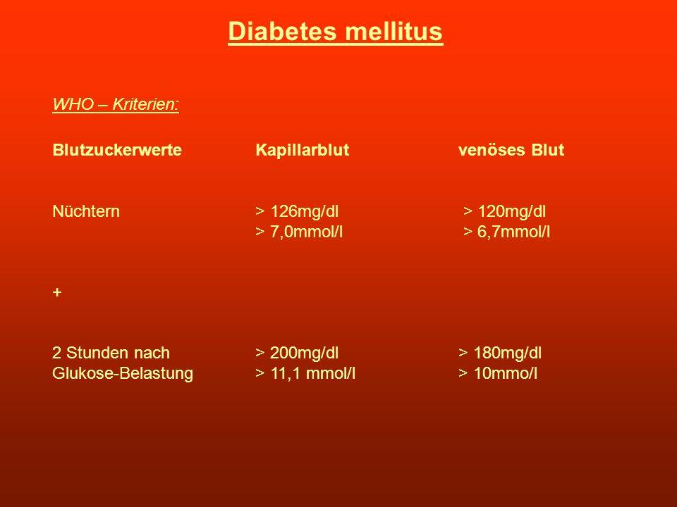 Diabetes mellitus WHO – Kriterien: BlutzuckerwerteKapillarblutvenöses Blut Nüchtern> 126mg/dl > 120mg/dl > 7,0mmol/l > 6,7mmol/l + 2 Stunden nach > 20