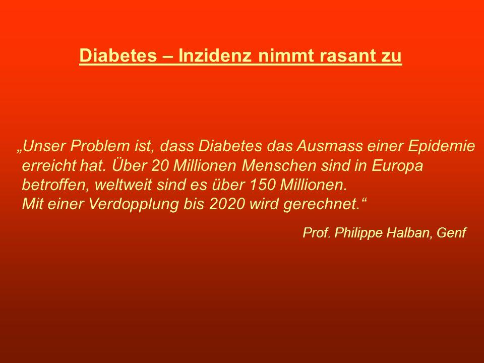 Diabetes – Inzidenz nimmt rasant zu Unser Problem ist, dass Diabetes das Ausmass einer Epidemie erreicht hat. Über 20 Millionen Menschen sind in Europ