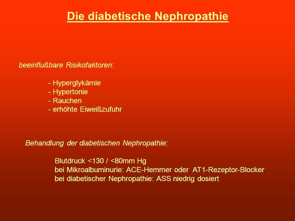 Die diabetische Nephropathie beeinflußbare Risikofaktoren: - Hyperglykämie - Hypertonie - Rauchen - erhöhte Eiweißzufuhr Behandlung der diabetischen N