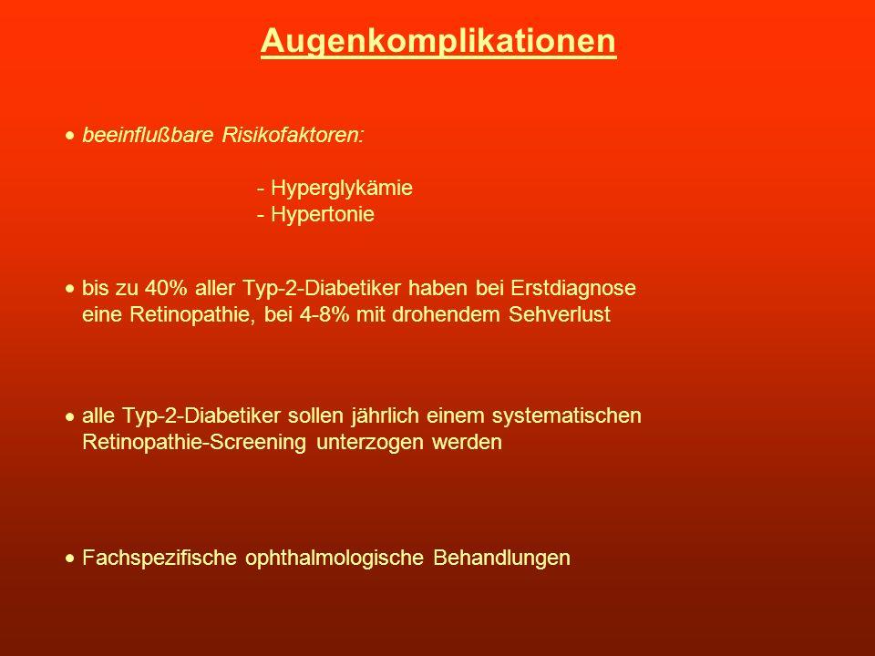 Augenkomplikationen beeinflußbare Risikofaktoren: - Hyperglykämie - Hypertonie bis zu 40% aller Typ-2-Diabetiker haben bei Erstdiagnose eine Retinopat