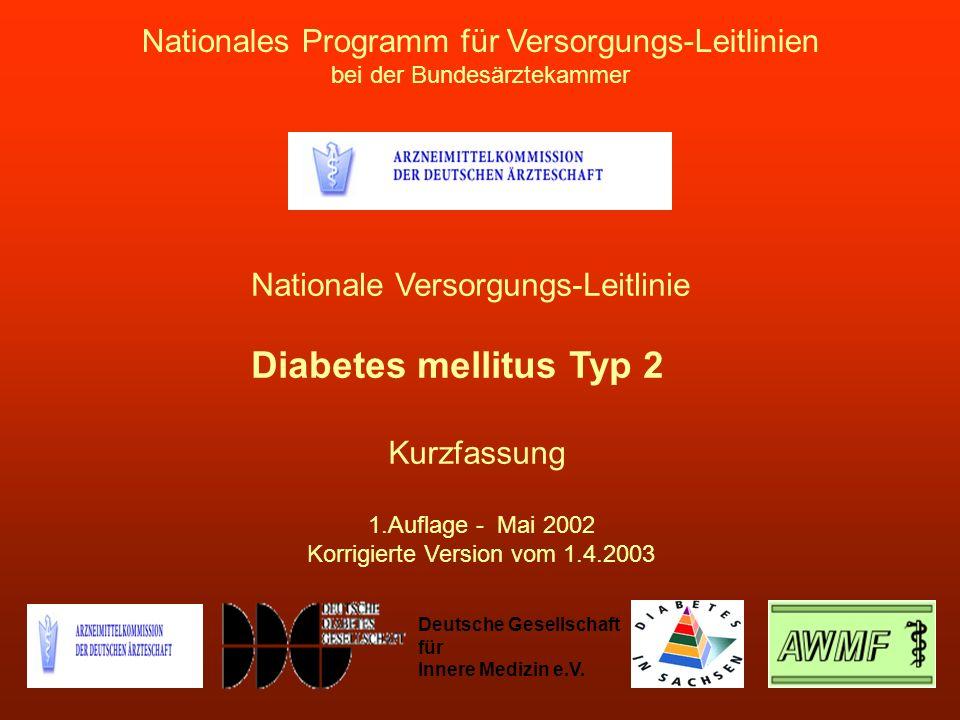 Nationales Programm für Versorgungs-Leitlinien bei der Bundesärztekammer Nationale Versorgungs-Leitlinie Diabetes mellitus Typ 2 Kurzfassung 1.Auflage