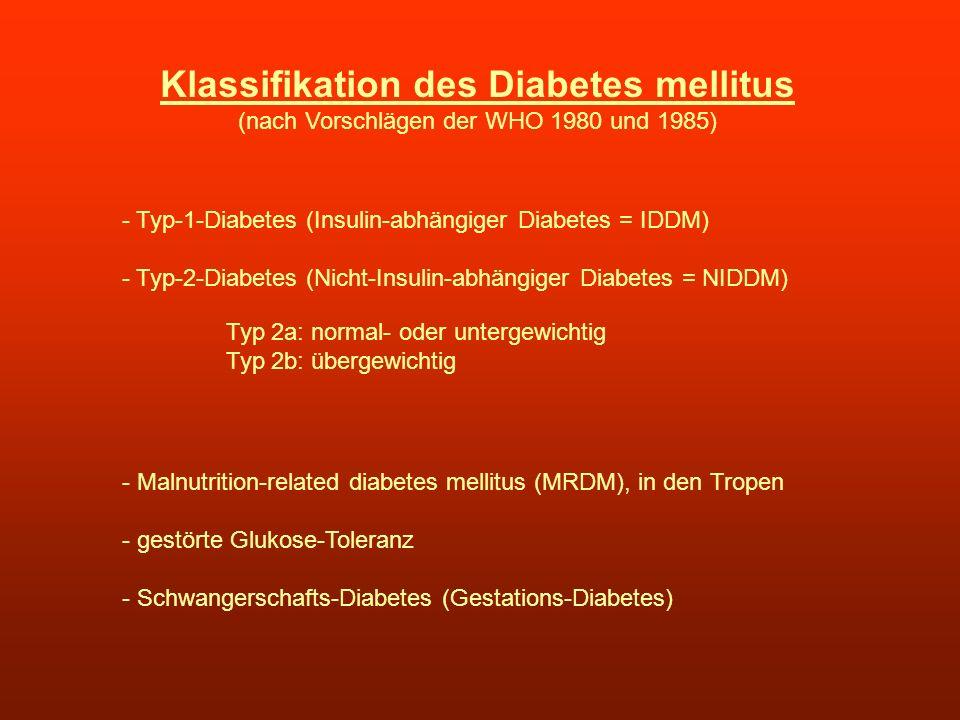 Klassifikation des Diabetes mellitus (nach Vorschlägen der WHO 1980 und 1985) - Typ-1-Diabetes (Insulin-abhängiger Diabetes = IDDM) - Typ-2-Diabetes (