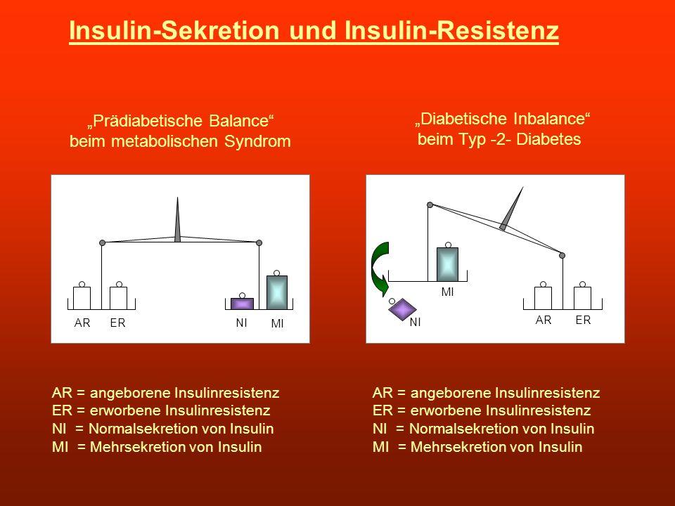 Insulin-Sekretion und Insulin-Resistenz NIERAR MI Prädiabetische Balance beim metabolischen Syndrom AR = angeborene Insulinresistenz ER = erworbene In