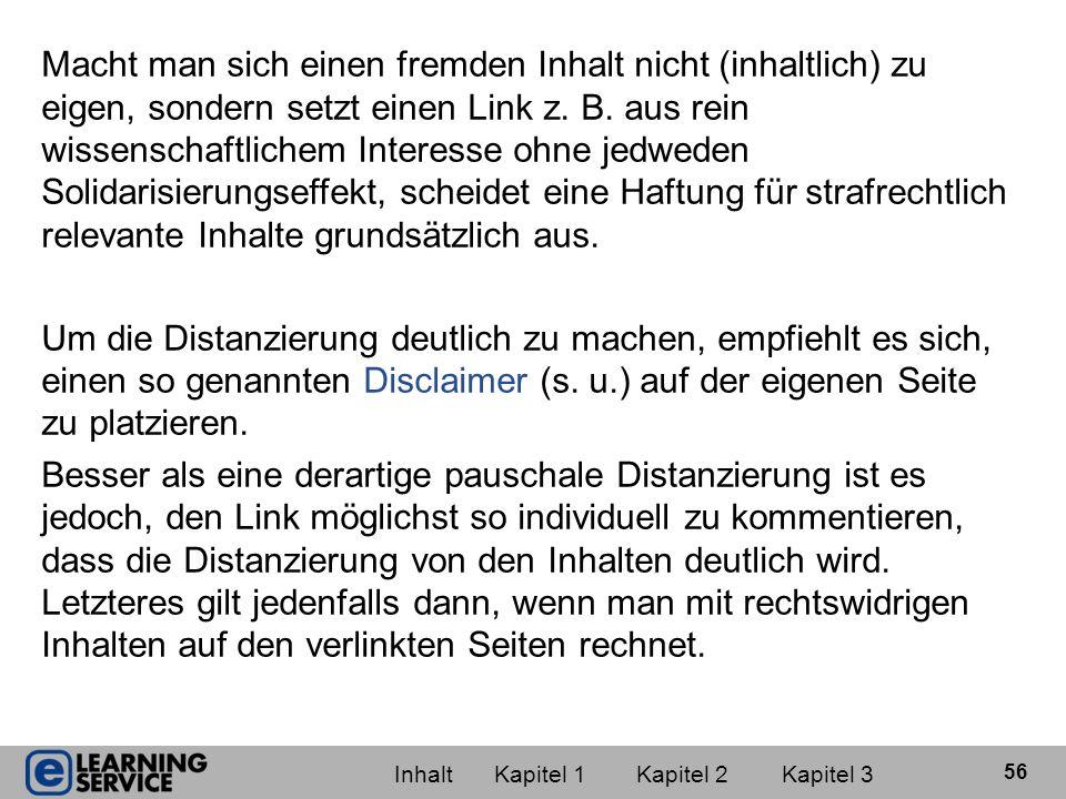 Vorschlag für einen Disclaimer (aus Knudsen/Lauber, S.
