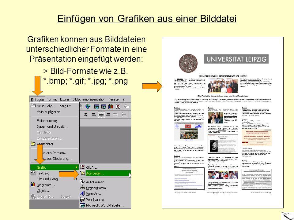 Einfügen von Grafiken aus einer Bilddatei Grafiken können aus Bilddateien unterschiedlicher Formate in eine Präsentation eingefügt werden: > Bild-Form