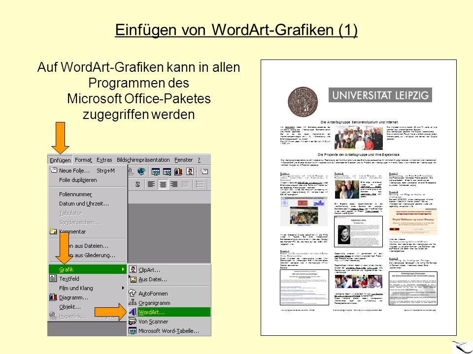 Einfügen von WordArt-Grafiken (1) Auf WordArt-Grafiken kann in allen Programmen des Microsoft Office-Paketes zugegriffen werden Am 05.04.2000 haben 20