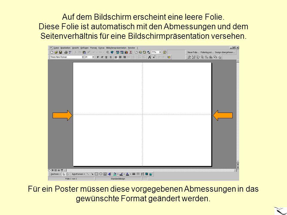 Auf dem Bildschirm erscheint eine leere Folie. Diese Folie ist automatisch mit den Abmessungen und dem Seitenverhältnis für eine Bildschirmpräsentatio