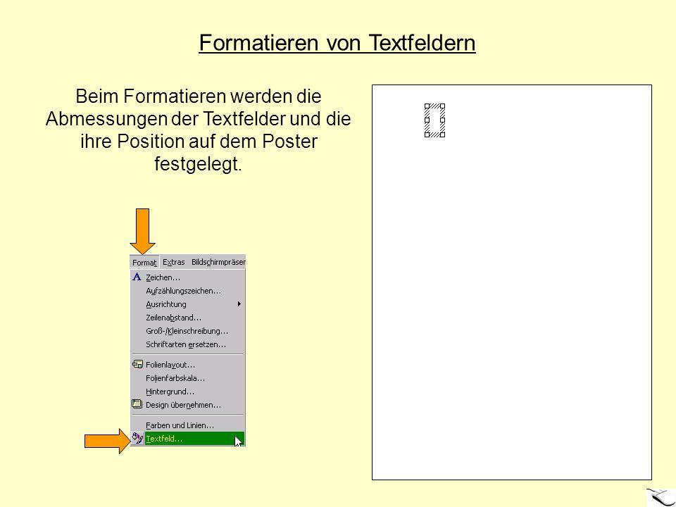 Formatieren von Textfeldern Beim Formatieren werden die Abmessungen der Textfelder und die ihre Position auf dem Poster festgelegt.