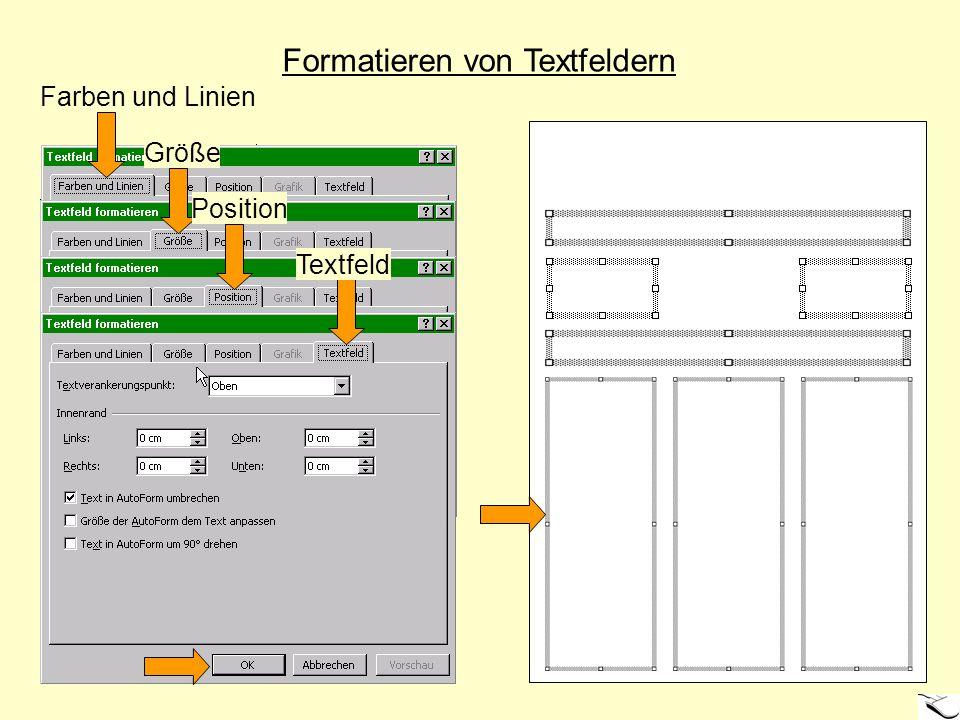 Einfügen der Textpassagen - Aktivieren eines Textfeldes (Maus) - Einfügen von Text über: > (1) Zwischenablage (z.B.