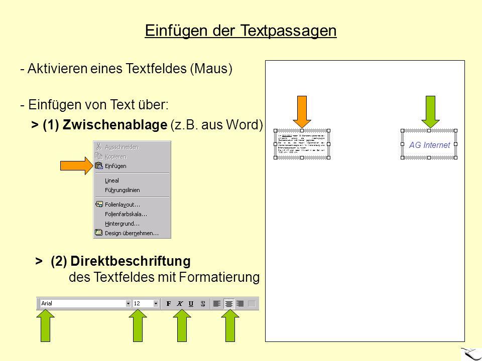Einfügen der Textpassagen - Aktivieren eines Textfeldes (Maus) - Einfügen von Text über: > (1) Zwischenablage (z.B. aus Word) > (2) Direktbeschriftung