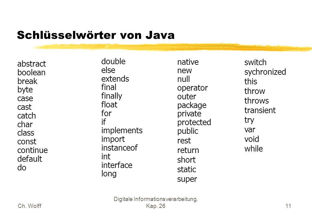 Ch. Wolff Digitale Informationsverarbeitung, Kap. 2611 Schlüsselwörter von Java abstract boolean break byte case cast catch char class const continue