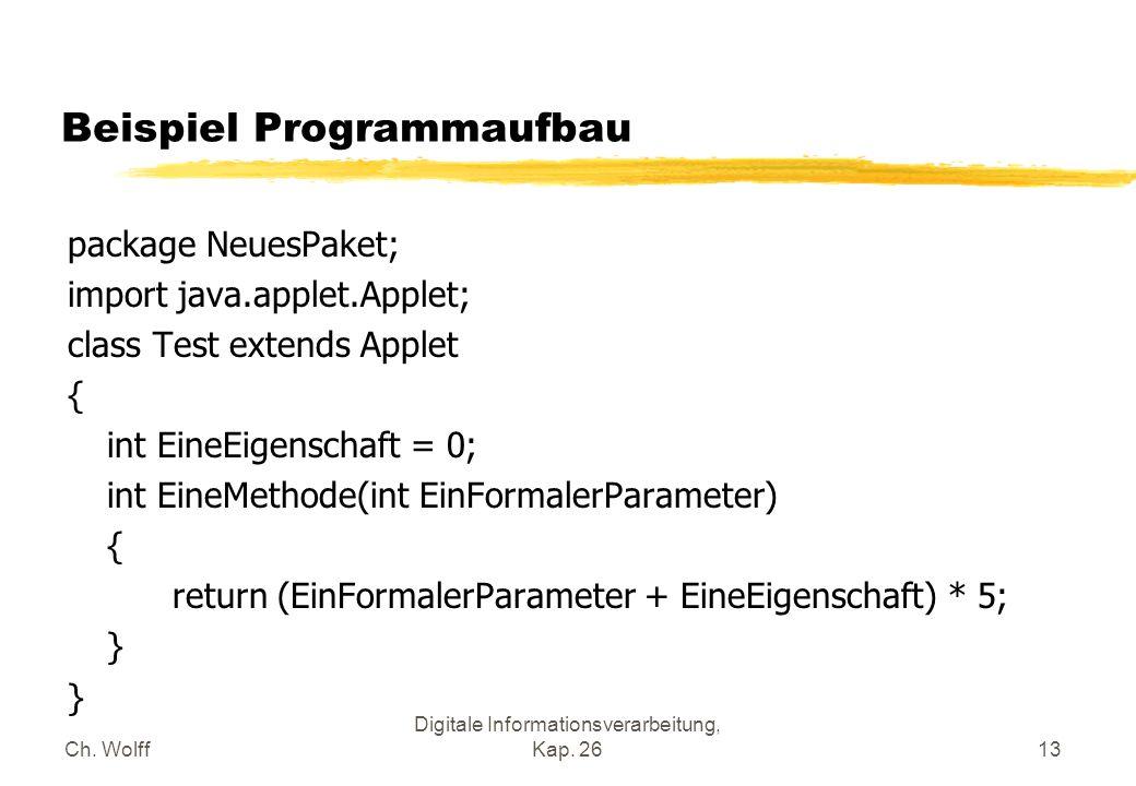 Ch. Wolff Digitale Informationsverarbeitung, Kap. 2613 Beispiel Programmaufbau package NeuesPaket; import java.applet.Applet; class Test extends Apple
